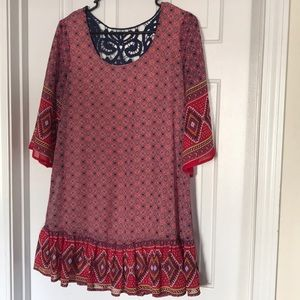 Boho dress / tunic with bell sleeves + lace back